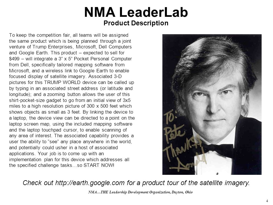 4 NMA LeaderLab Product Description To keep the competition fair, all teams will be assigned the same product which is being planned through a joint v