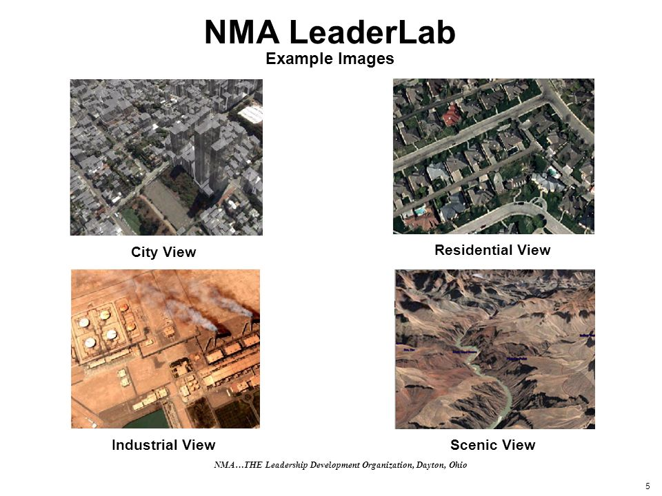 5 NMA LeaderLab Example Images City View Residential View Industrial View Scenic View NMA…THE Leadership Development Organization, Dayton, Ohio