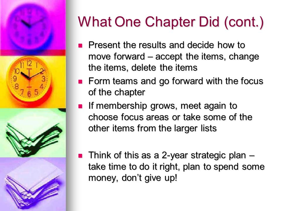 What One Chapter Did (cont.) Present the results and decide how to move forward – accept the items, change the items, delete the items Present the results and decide how to move forward – accept the items, change the items, delete the items Form teams and go forward with the focus of the chapter Form teams and go forward with the focus of the chapter If membership grows, meet again to choose focus areas or take some of the other items from the larger lists If membership grows, meet again to choose focus areas or take some of the other items from the larger lists Think of this as a 2-year strategic plan – take time to do it right, plan to spend some money, dont give up.