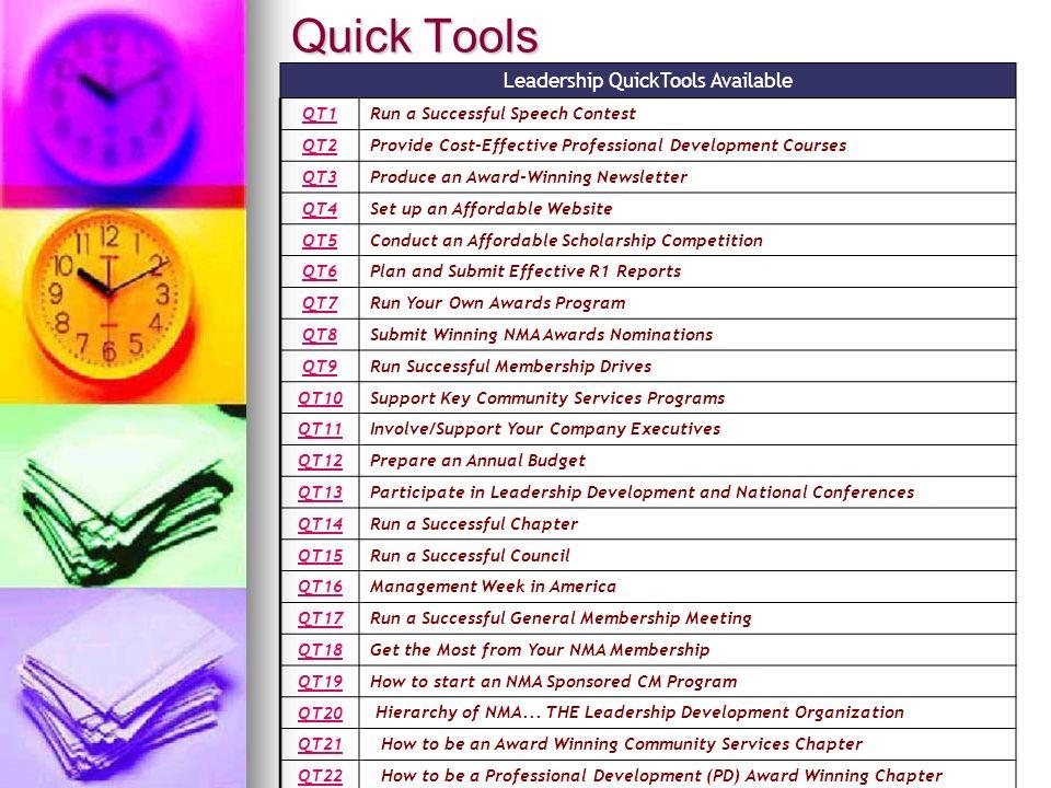 Quick Tools Leadership QuickTools Available QT1Run a Successful Speech Contest QT2Provide Cost-Effective Professional Development Courses QT3Produce a
