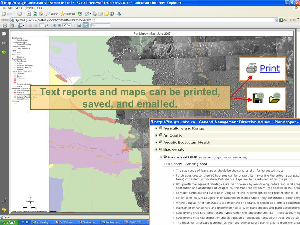 Text reports and maps can be printed, saved, and emailed.