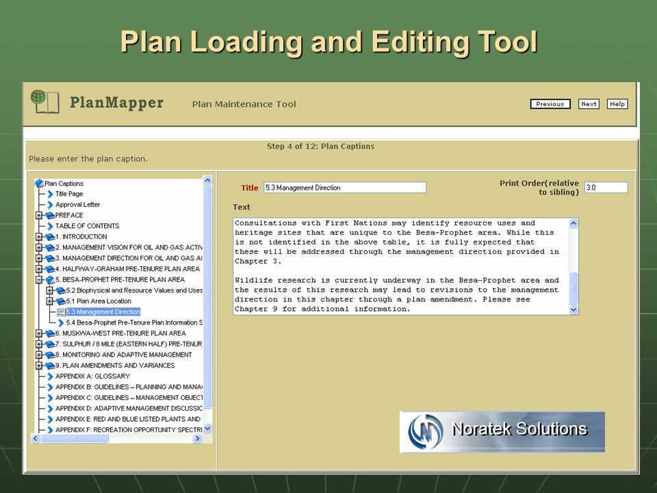 Plan Loading and Editing Tool