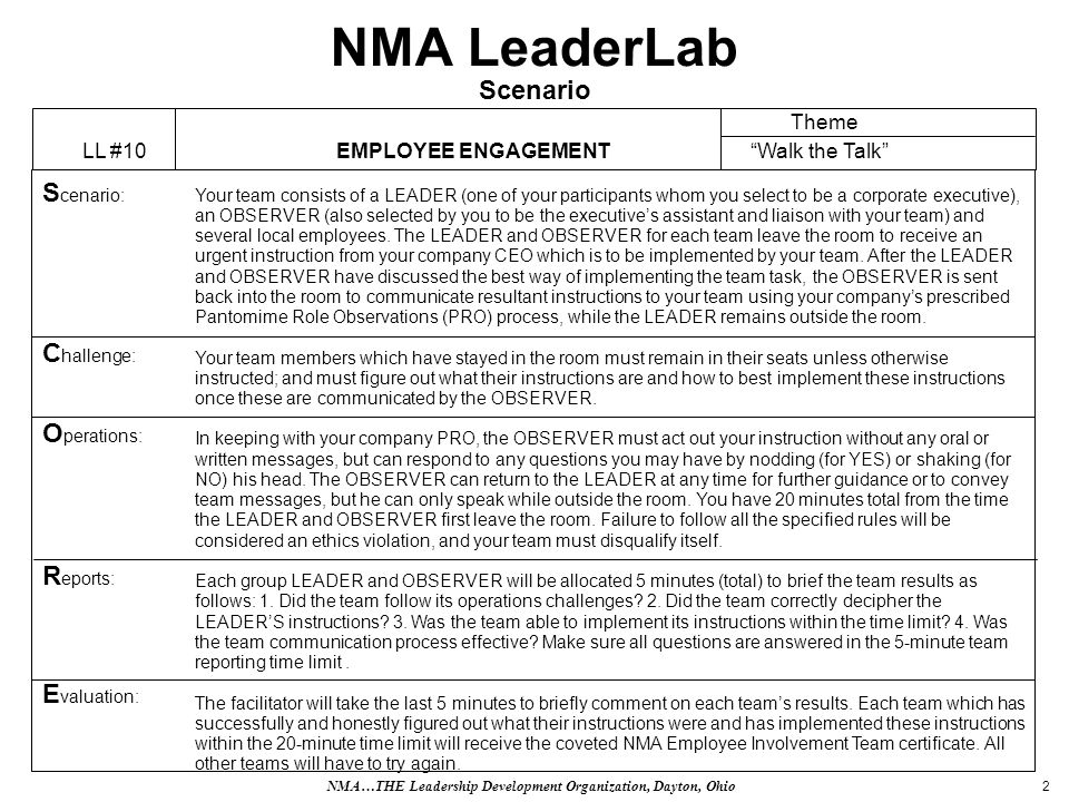 2 NMA LeaderLab Scenario Your team consists of a LEADER (one of your participants whom you select to be a corporate executive), an OBSERVER (also selected by you to be the executives assistant and liaison with your team) and several local employees.