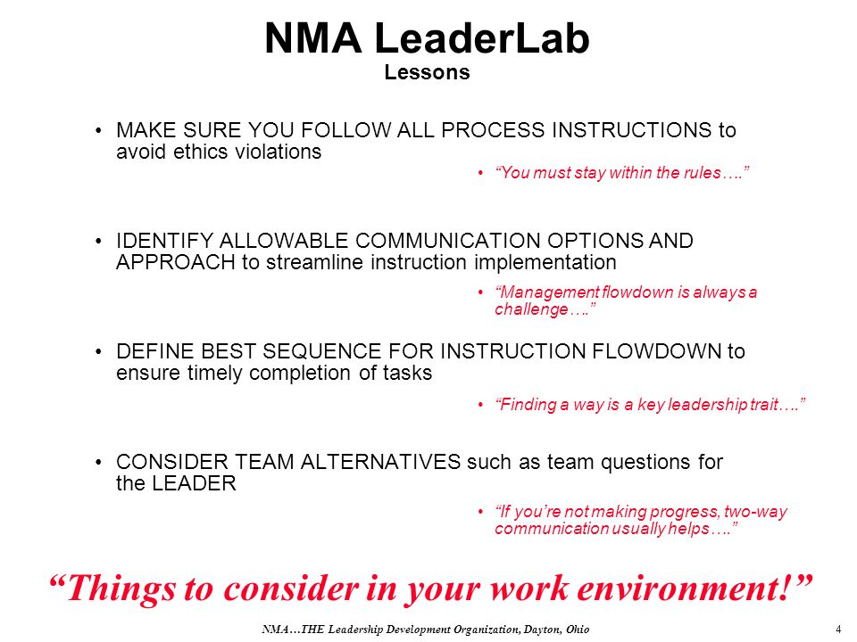 5 NMA LeaderLab Facilitator Hints You must make prior arrangement to deliver your company CEOs instructions, which are REARRANGE ALL TEAM MEMBER CHAIRS IN LAST-NAME ALPHABETICAL ORDER.