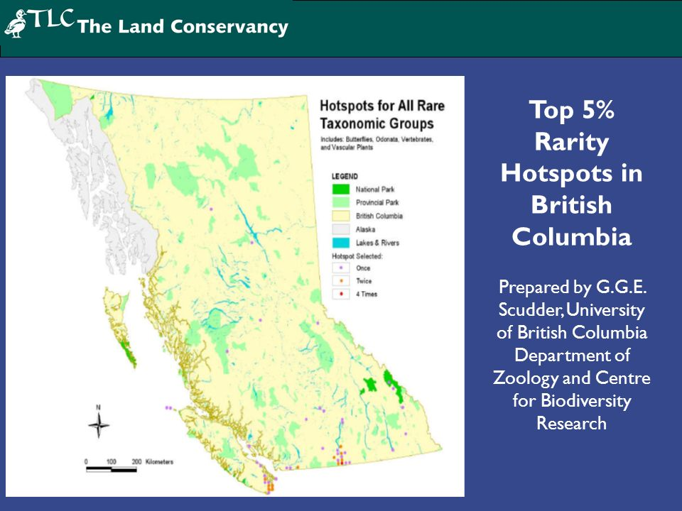 Top 5% Rarity Hotspots in British Columbia Prepared by G.G.E. Scudder, University of British Columbia Department of Zoology and Centre for Biodiversit