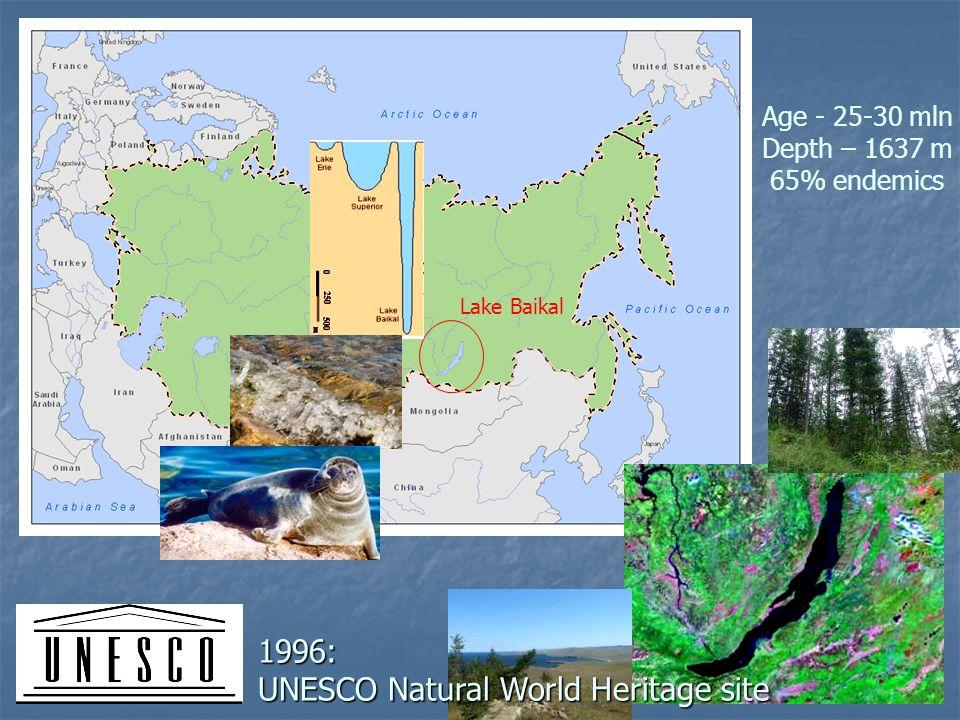 Lake Baikal 1996: UNESCO Natural World Heritage site Age - 25-30 mln Depth – 1637 m 65% endemics