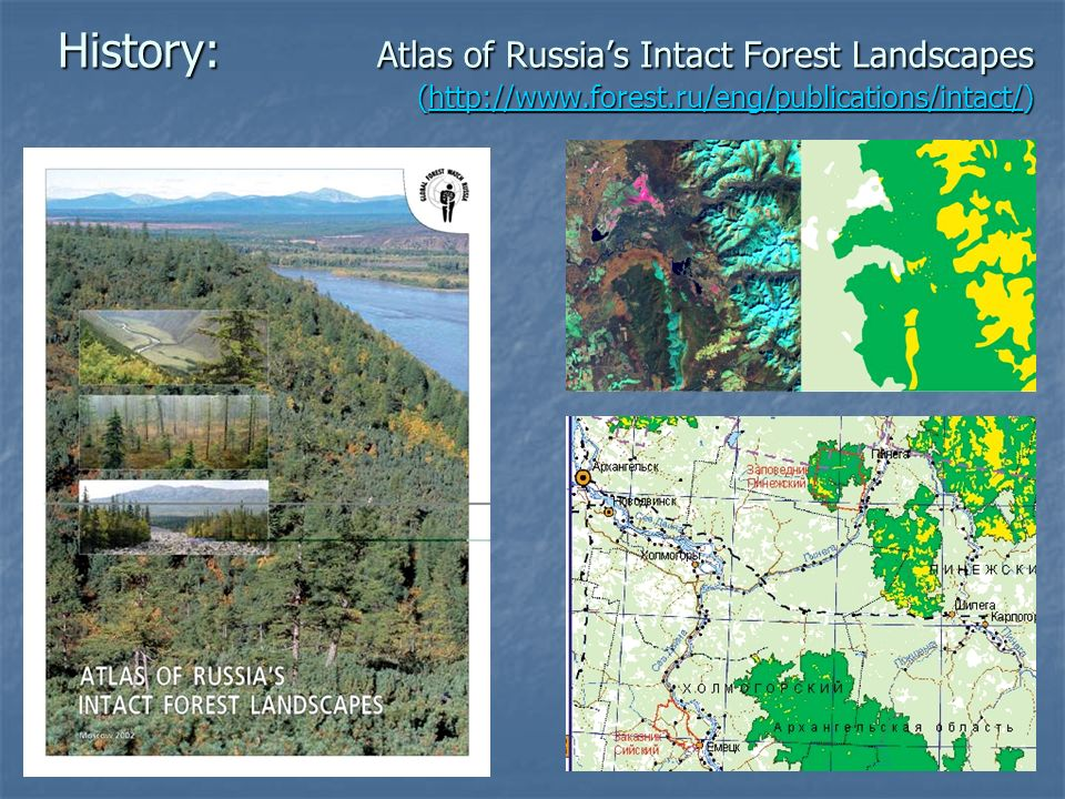 History: Atlas of Russias Intact Forest Landscapes (http://www.forest.ru/eng/publications/intact/) http://www.forest.ru/eng/publications/intact/