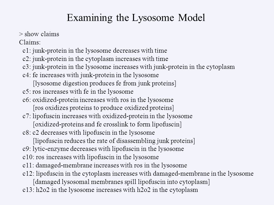 Examining the Lysosome Model > show claims Claims: c1: junk-protein in the lysosome decreases with time c2: junk-protein in the cytoplasm increases wi