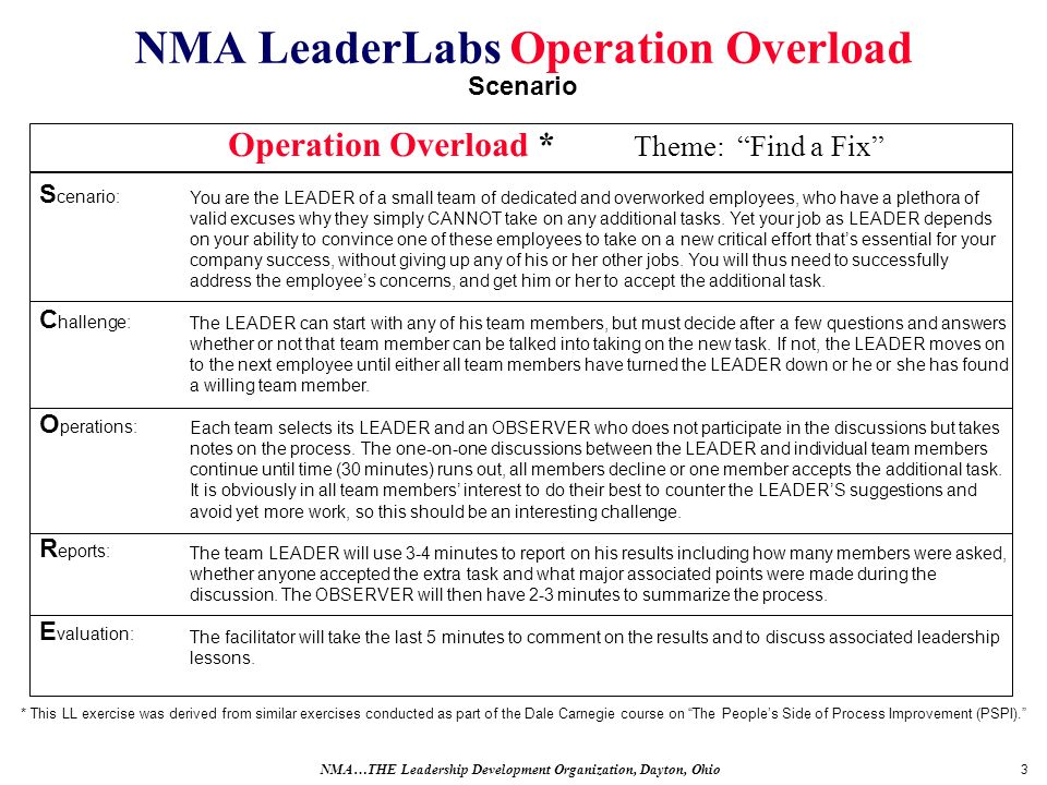 3 NMA LeaderLabs Operation Overload Scenario You are the LEADER of a small team of dedicated and overworked employees, who have a plethora of valid excuses why they simply CANNOT take on any additional tasks.