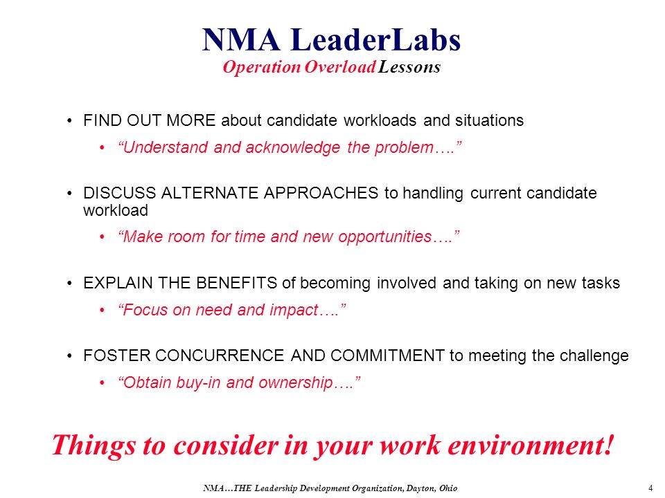 4 NMA LeaderLabs Operation Overload Lessons FIND OUT MORE about candidate workloads and situations Understand and acknowledge the problem….