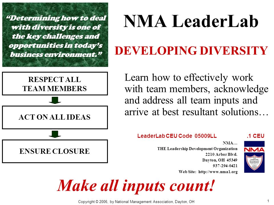1 NMA LeaderLab DEVELOPING DIVERSITY RESPECT ALL TEAM MEMBERS ACT ON ALL IDEAS ENSURE CLOSURE Learn how to effectively work with team members, acknowledge and address all team inputs and arrive at best resultant solutions… Make all inputs count.