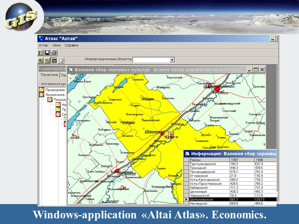 Windows-application «Altai Atlas». Economics.