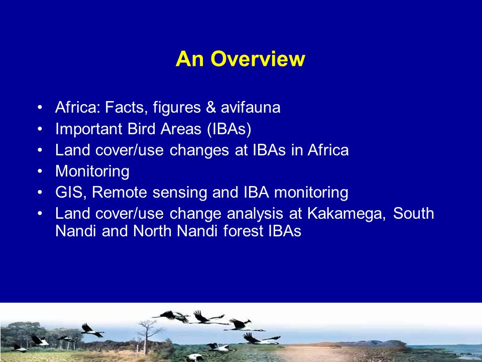 An Overview Africa: Facts, figures & avifauna Important Bird Areas (IBAs) Land cover/use changes at IBAs in Africa Monitoring GIS, Remote sensing and IBA monitoring Land cover/use change analysis at Kakamega, South Nandi and North Nandi forest IBAs