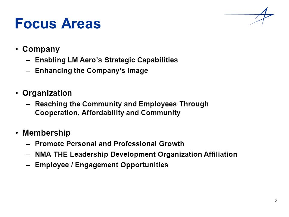 2 Focus Areas Company –Enabling LM Aeros Strategic Capabilities –Enhancing the Company's Image Organization –Reaching the Community and Employees Thro