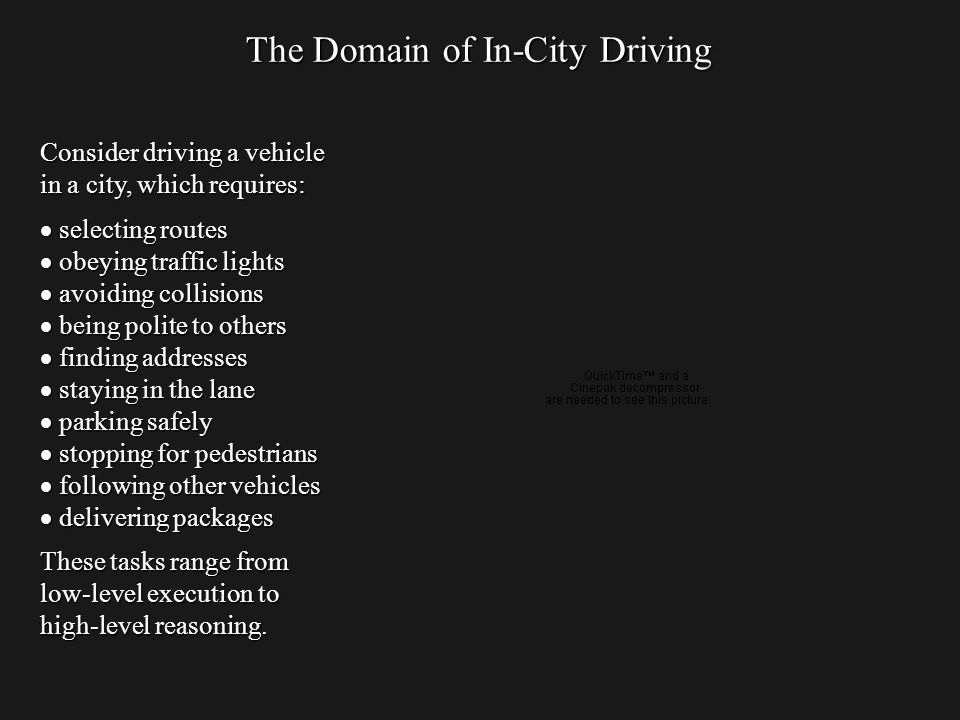 The Domain of In-City Driving Consider driving a vehicle in a city, which requires: selecting routes selecting routes obeying traffic lights obeying traffic lights avoiding collisions avoiding collisions being polite to others being polite to others finding addresses finding addresses staying in the lane staying in the lane parking safely parking safely stopping for pedestrians stopping for pedestrians following other vehicles following other vehicles delivering packages delivering packages These tasks range from low-level execution to high-level reasoning.