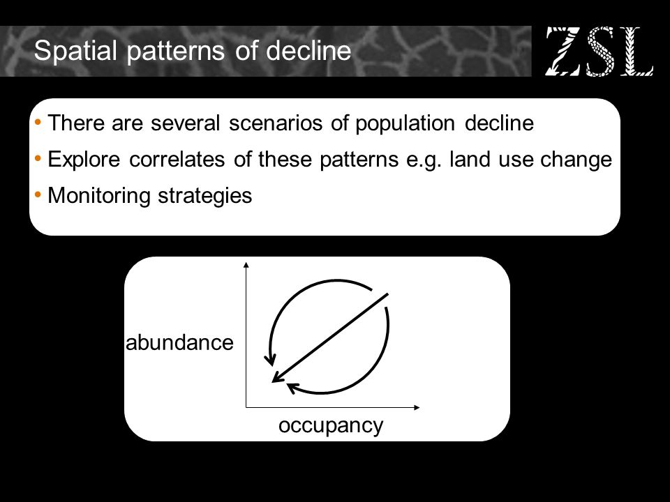 Spatial patterns of decline There are several scenarios of population decline Explore correlates of these patterns e.g. land use change Monitoring str
