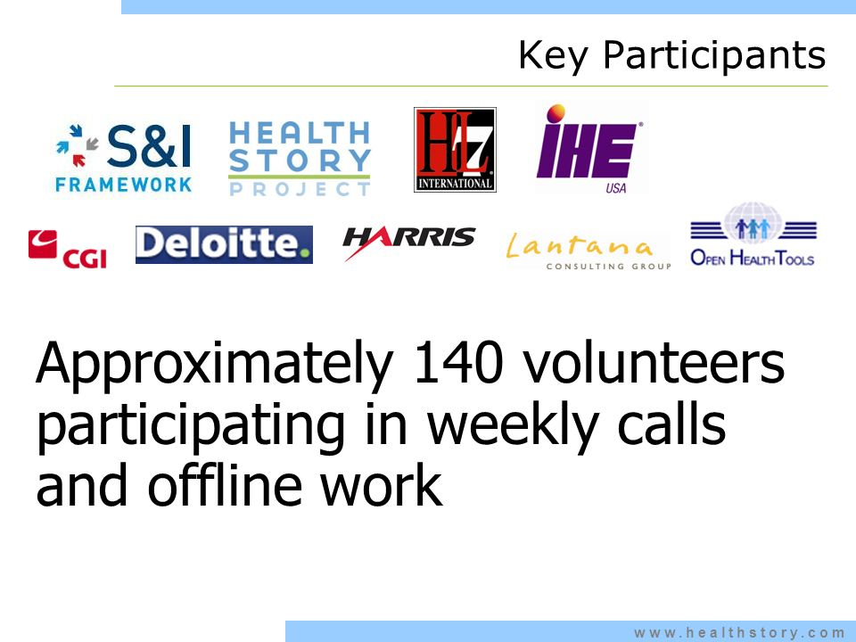 www.healthstory.com Key Participants Approximately 140 volunteers participating in weekly calls and offline work