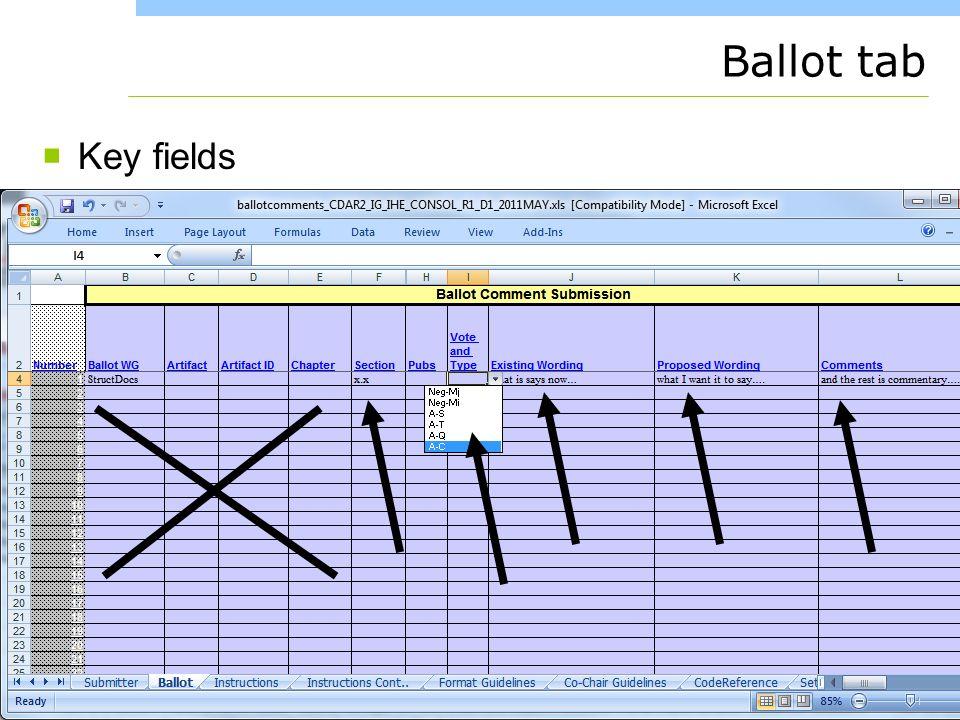 www.healthstory.com Ballot tab Key fields