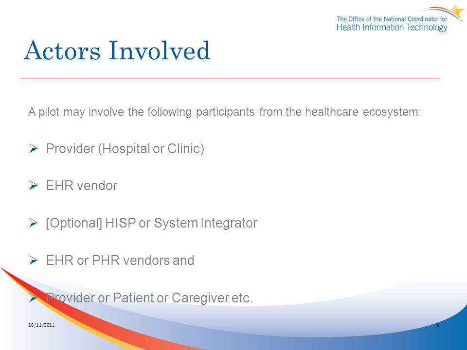 Actors Involved A pilot may involve the following participants from the healthcare ecosystem: Provider (Hospital or Clinic) EHR vendor [Optional] HISP