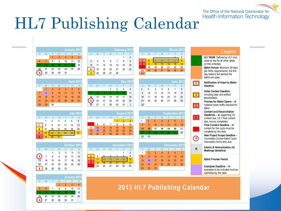 HL7 Publishing Calendar
