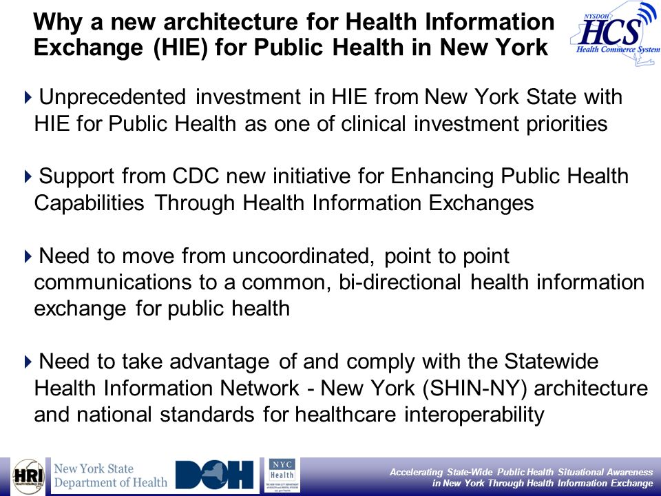 Accelerating State-Wide Public Health Situational Awareness in New York Through Health Information Exchange Linh H. Le, MD, MPH; Ivan J. Gotham, PhD;