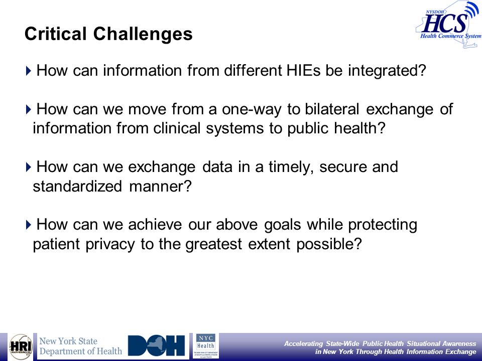 3 Accelerating State-Wide Public Health Situational Awareness in New York Through Health Information Exchange Critical Challenges How can information from different HIEs be integrated.