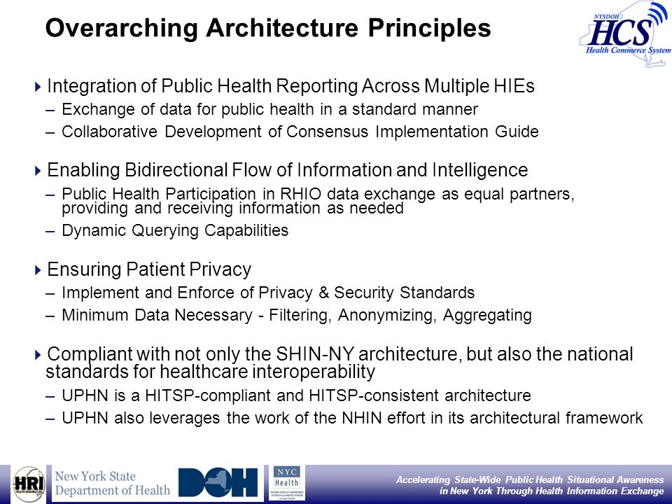 15 Accelerating State-Wide Public Health Situational Awareness in New York Through Health Information Exchange Service Registry and Discovery UPHN ESB will maintain a restricted service registry using UDDI v2.0.4 as documented in the NHIN Messaging Platform Specification The service registry will keep both endpoint servers addresses and Web Services Description Language (WSDL) service definitions Copies of the registry that are kept in synch via replication or another appropriate means with other ESBs within the SHIN-NY