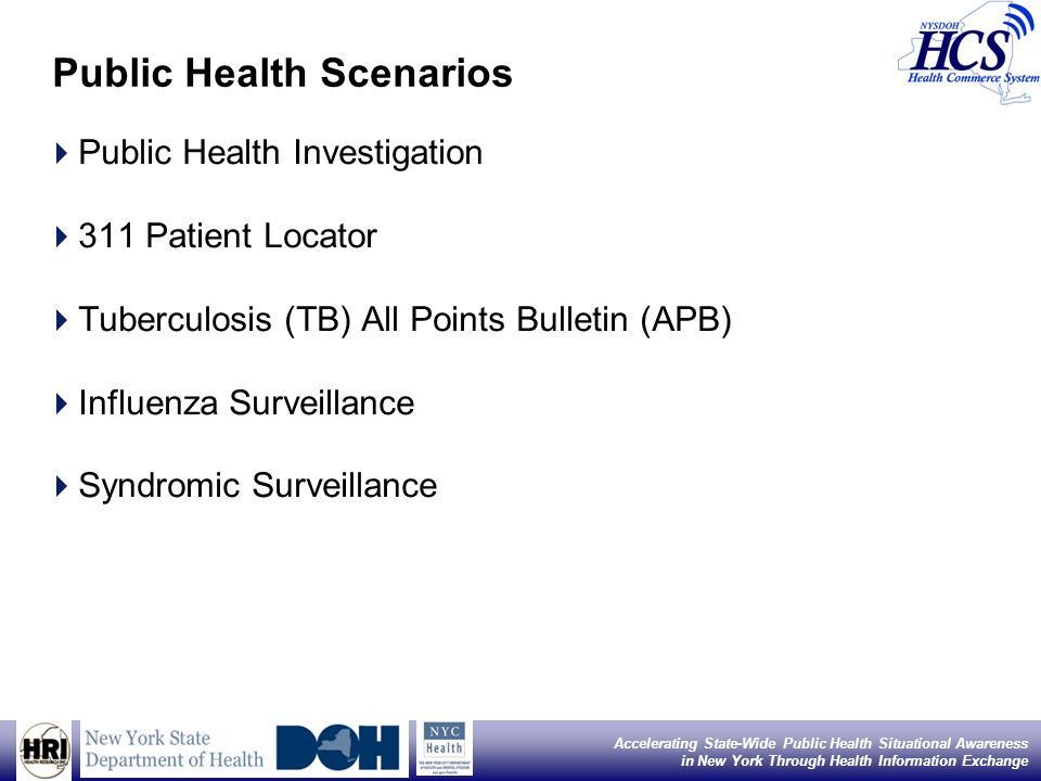 7 Accelerating State-Wide Public Health Situational Awareness in New York Through Health Information Exchange Public Health Scenarios Public Health Investigation 311 Patient Locator Tuberculosis (TB) All Points Bulletin (APB) Influenza Surveillance Syndromic Surveillance