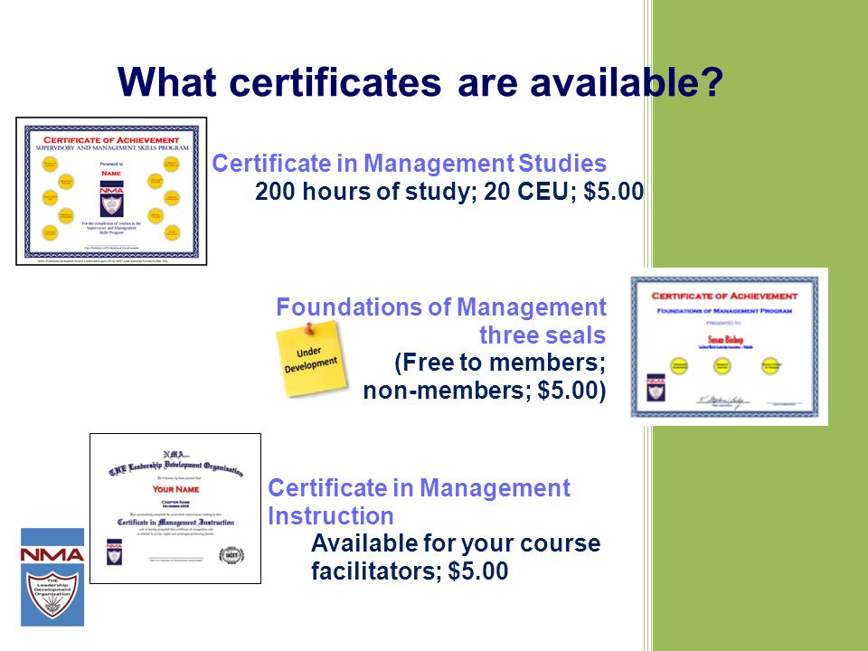 What certificates are available.