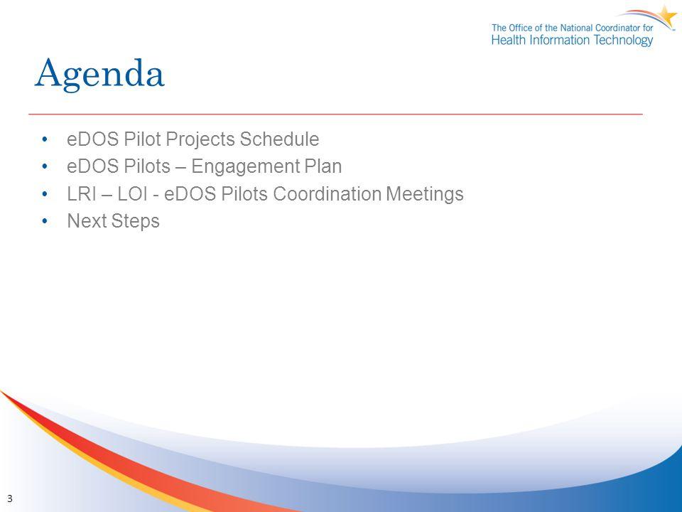 Agenda eDOS Pilot Projects Schedule eDOS Pilots – Engagement Plan LRI – LOI - eDOS Pilots Coordination Meetings Next Steps 3