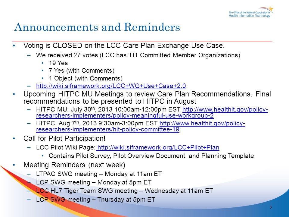 Voting is CLOSED on the LCC Care Plan Exchange Use Case.