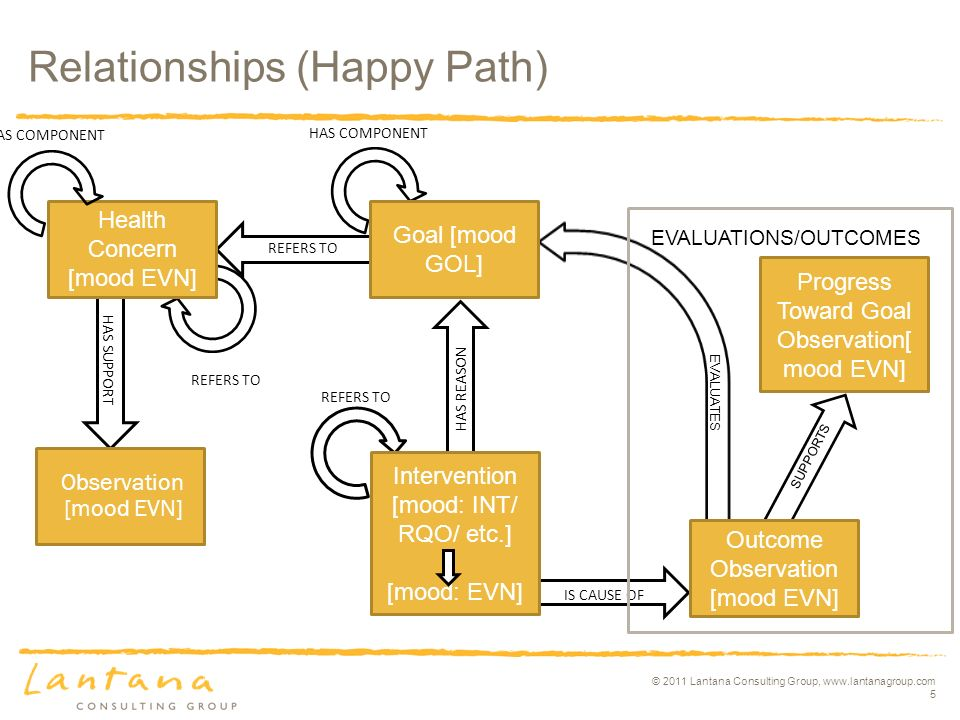 © 2011 Lantana Consulting Group, www.lantanagroup.com 5 IS CAUSE OF HAS SUPPORT HAS REASON Relationships (Happy Path) Health Concern [mood EVN] Goal [