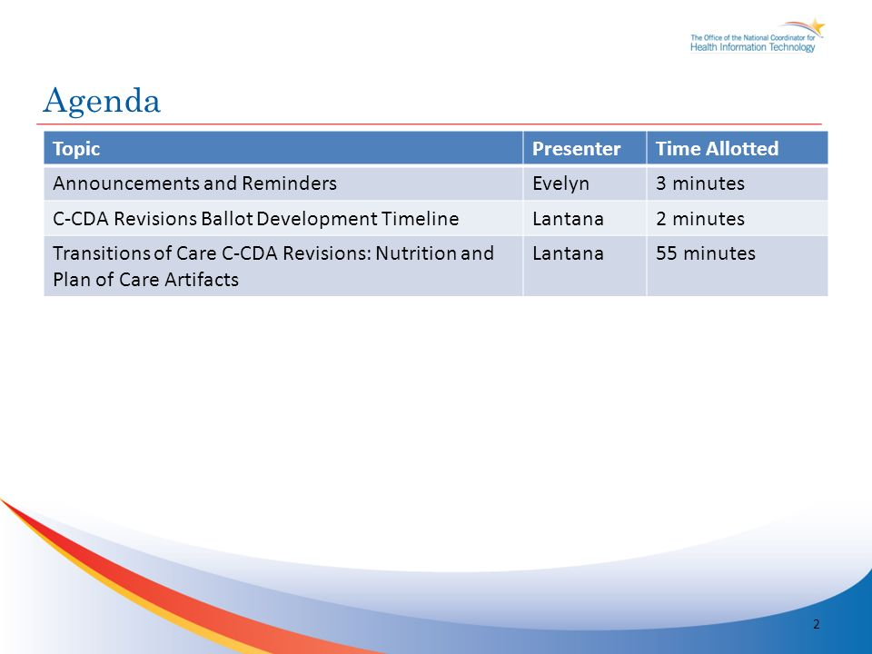 TopicPresenterTime Allotted Announcements and RemindersEvelyn3 minutes C-CDA Revisions Ballot Development TimelineLantana2 minutes Transitions of Care C-CDA Revisions: Nutrition and Plan of Care Artifacts Lantana55 minutes Agenda 2