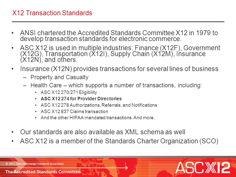 © 2011, Data Interchange Standards Association 3 What capabilities does X12 Std provide for an EHR query to a Provider Directory.