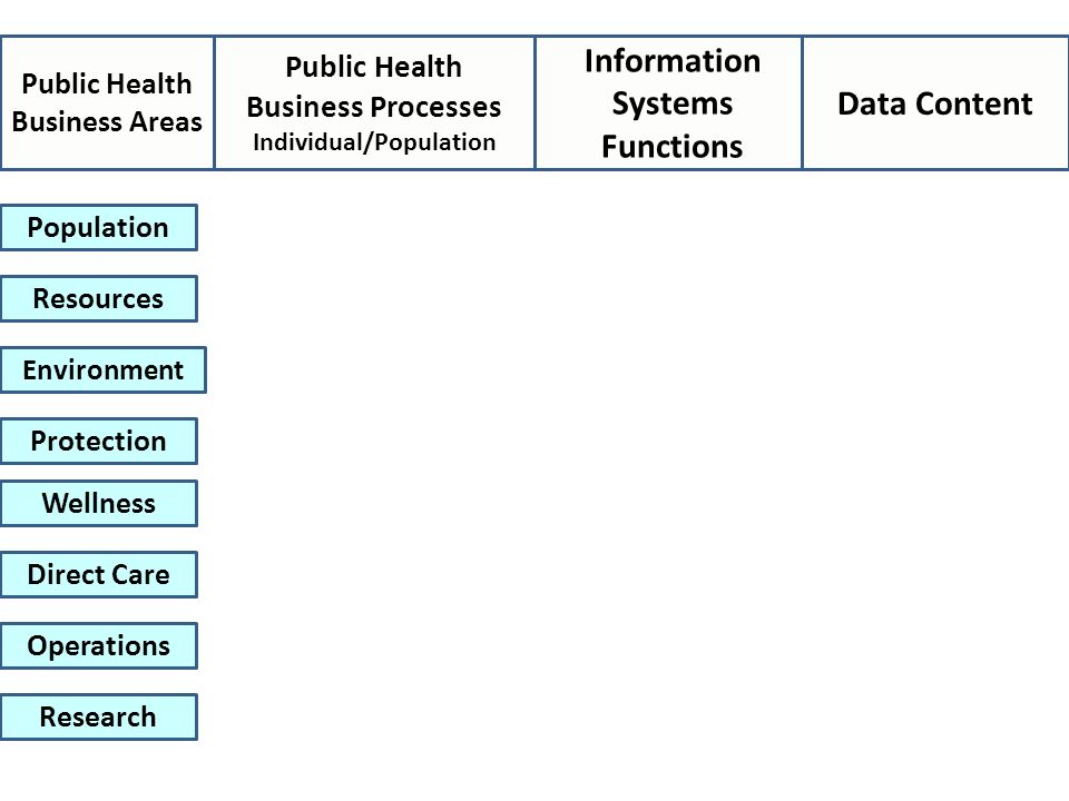 Public Health Business Processes Individual/Population Information Systems Functions Data Content Population Resources Environment Protection Wellness Direct Care Operations Research Public Health Business Areas