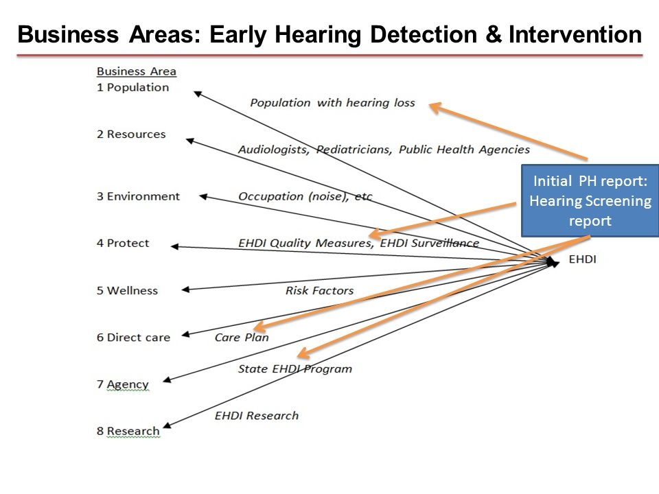 Business Areas: Early Hearing Detection & Intervention Initial PH report: Hearing Screening report