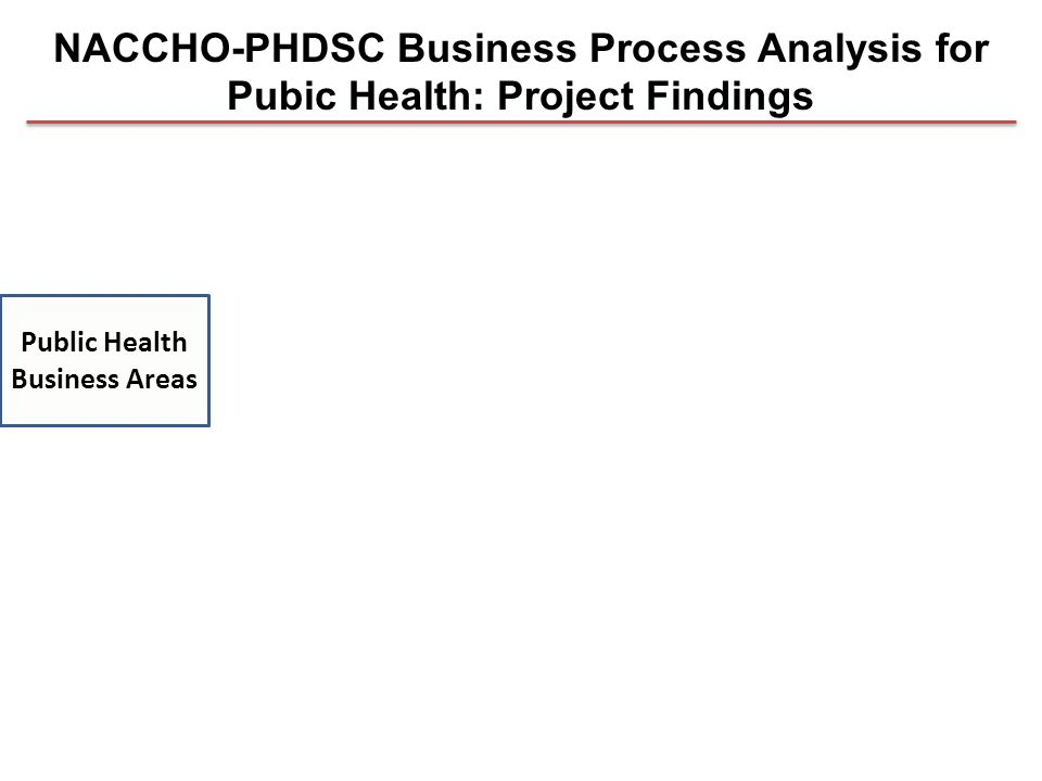 Public Health Business Areas NACCHO-PHDSC Business Process Analysis for Pubic Health: Project Findings