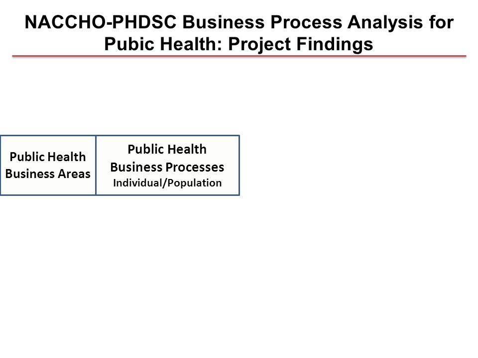 Public Health Business Processes Individual/Population Public Health Business Areas NACCHO-PHDSC Business Process Analysis for Pubic Health: Project Findings