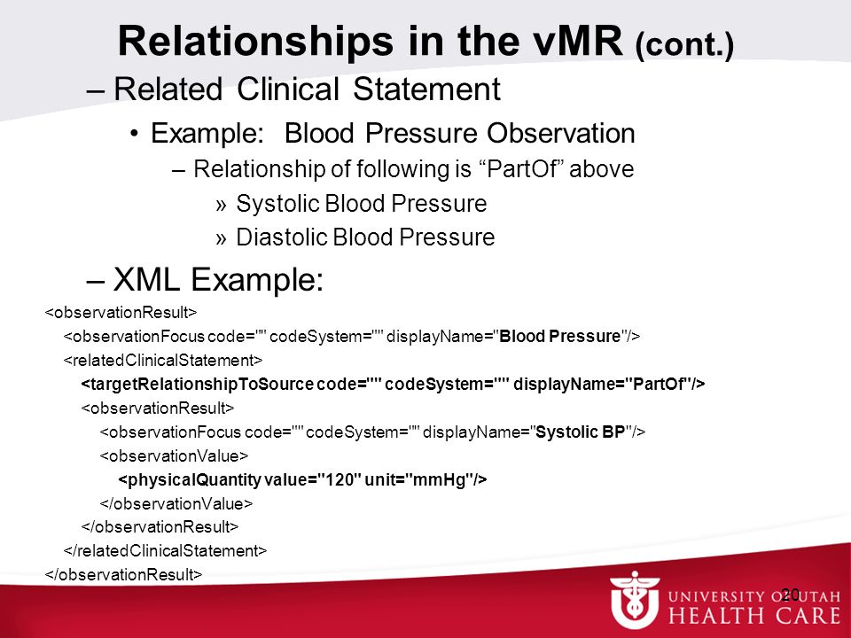 Relationships in the vMR (cont.) –Related Clinical Statement Example: Blood Pressure Observation –Relationship of following is PartOf above »Systolic