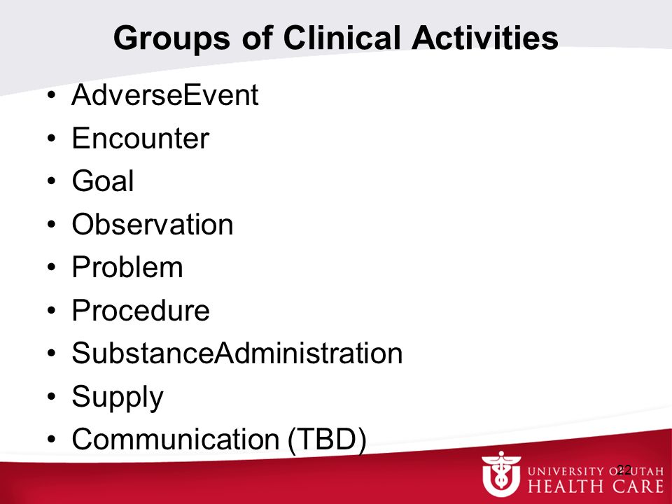 Groups of Clinical Activities AdverseEvent Encounter Goal Observation Problem Procedure SubstanceAdministration Supply Communication (TBD) 22