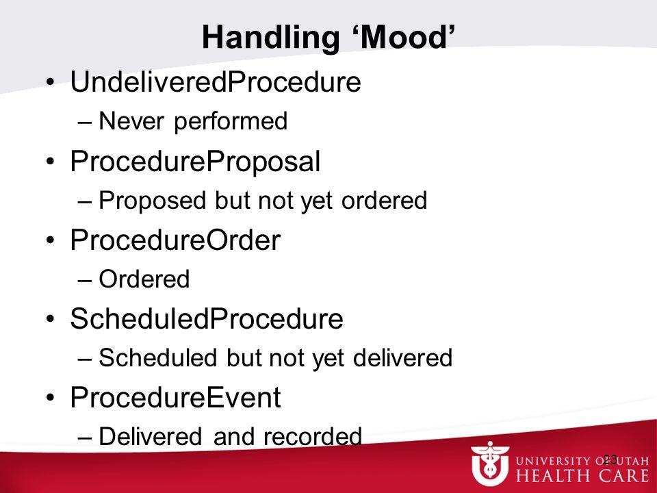 Handling Mood UndeliveredProcedure –Never performed ProcedureProposal –Proposed but not yet ordered ProcedureOrder –Ordered ScheduledProcedure –Schedu