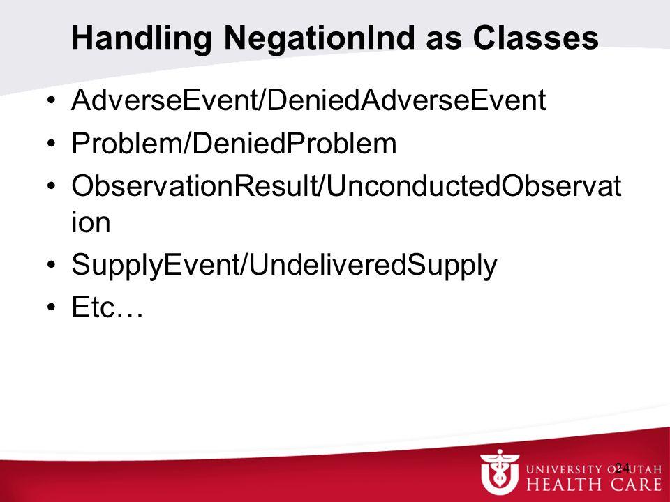 Handling NegationInd as Classes AdverseEvent/DeniedAdverseEvent Problem/DeniedProblem ObservationResult/UnconductedObservat ion SupplyEvent/Undelivere