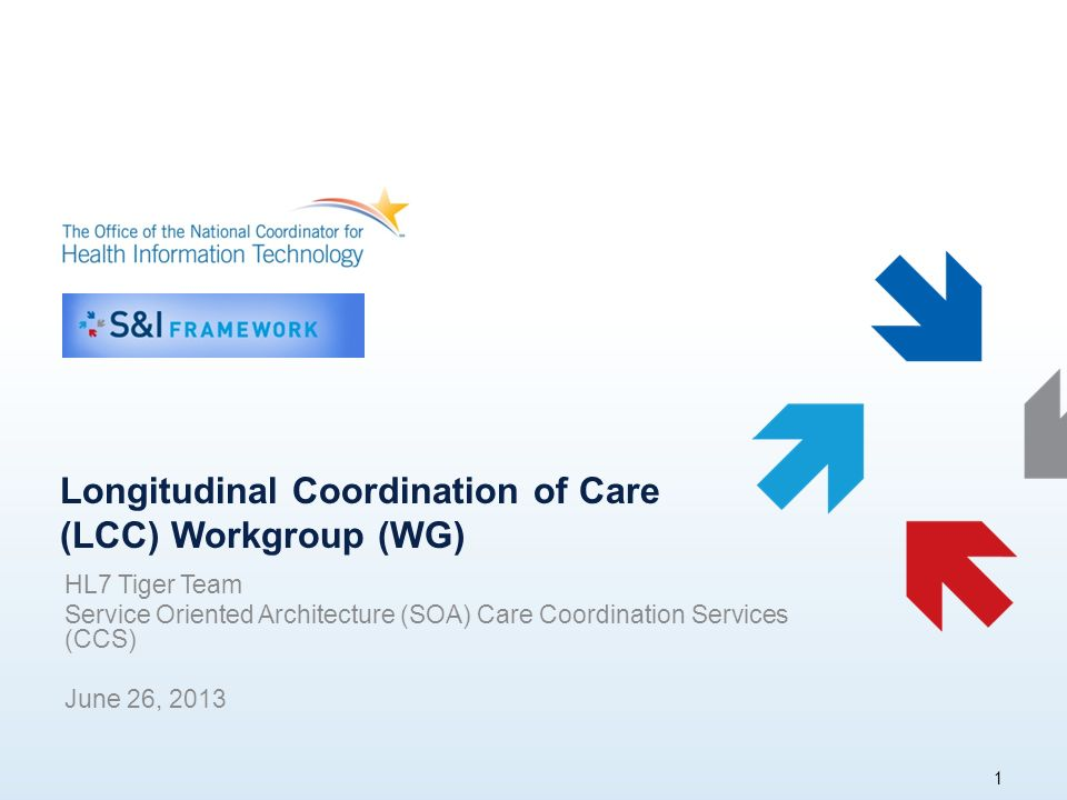 Longitudinal Coordination of Care (LCC) Workgroup (WG) HL7 Tiger Team Service Oriented Architecture (SOA) Care Coordination Services (CCS) June 26,