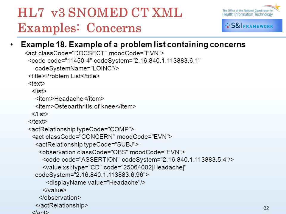 32 HL7 v3 SNOMED CT XML Examples: Concerns Example 18.