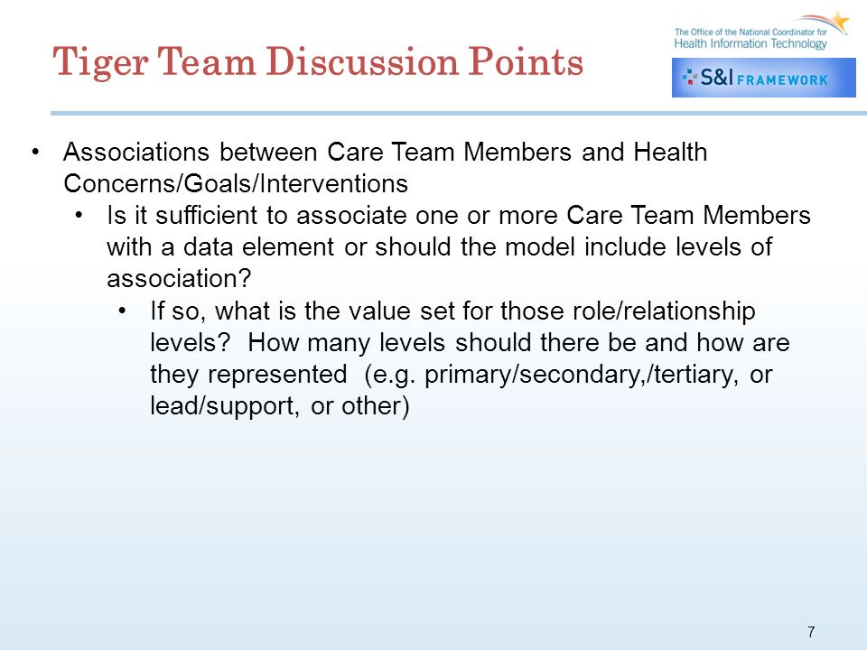 7 Associations between Care Team Members and Health Concerns/Goals/Interventions Is it sufficient to associate one or more Care Team Members with a data element or should the model include levels of association.