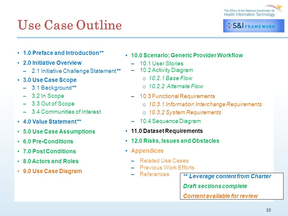 Use Case Outline 1.0 Preface and Introduction** 2.0 Initiative Overview –2.1 Initiative Challenge Statement** 3.0 Use Case Scope –3.1 Background** –3.2 In Scope –3.3 Out of Scope –3.4 Communities of Interest 4.0 Value Statement** 5.0 Use Case Assumptions 6.0 Pre-Conditions 7.0 Post Conditions 8.0 Actors and Roles 9.0 Use Case Diagram 10 10.0 Scenario: Generic Provider Workflow –10.1 User Stories –10.2 Activity Diagram o 10.2.1 Base Flow o 10.2.2 Alternate Flow –10.3 Functional Requirements o 10.3.1 Information Interchange Requirements o 10.3.2 System Requirements –10.4 Sequence Diagram 11.0 Dataset Requirements 12.0 Risks, Issues and Obstacles Appendices –Related Use Cases –Previous Work Efforts –References ** Leverage content from Charter Draft sections complete Content available for review