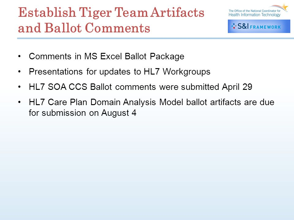 Establish Tiger Team Artifacts and Ballot Comments Comments in MS Excel Ballot Package Presentations for updates to HL7 Workgroups HL7 SOA CCS Ballot comments were submitted April 29 HL7 Care Plan Domain Analysis Model ballot artifacts are due for submission on August 4