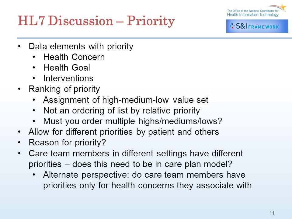 11 Data elements with priority Health Concern Health Goal Interventions Ranking of priority Assignment of high-medium-low value set Not an ordering of list by relative priority Must you order multiple highs/mediums/lows.