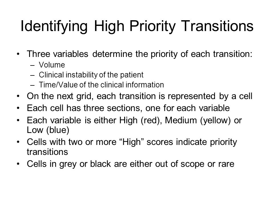 Identifying High Priority Transitions Three variables determine the priority of each transition: –Volume –Clinical instability of the patient –Time/Value of the clinical information On the next grid, each transition is represented by a cell Each cell has three sections, one for each variable Each variable is either High (red), Medium (yellow) or Low (blue) Cells with two or more High scores indicate priority transitions Cells in grey or black are either out of scope or rare