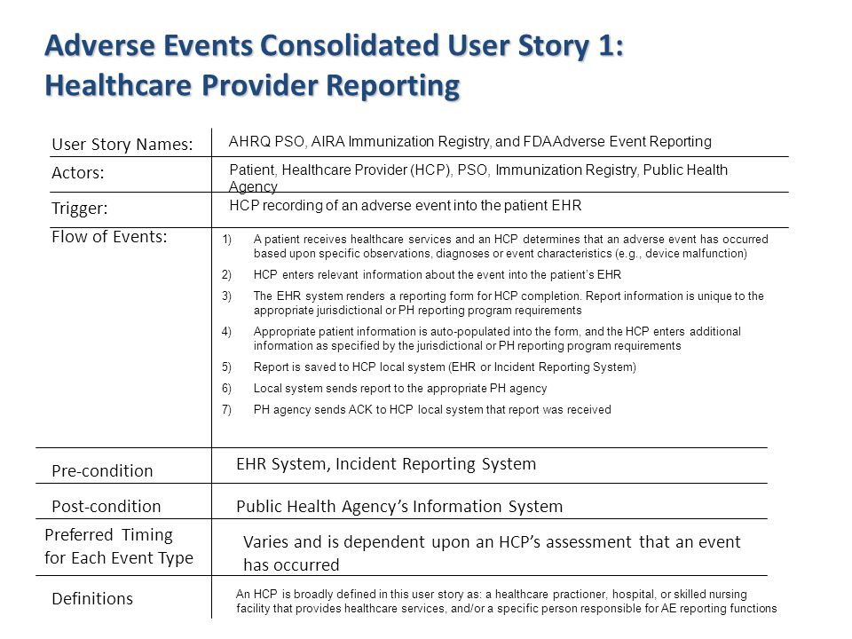 Adverse Events Consolidated User Story 1: Healthcare Provider Reporting User Story Names: Actors: Flow of Events: Pre-condition Post-condition Preferr